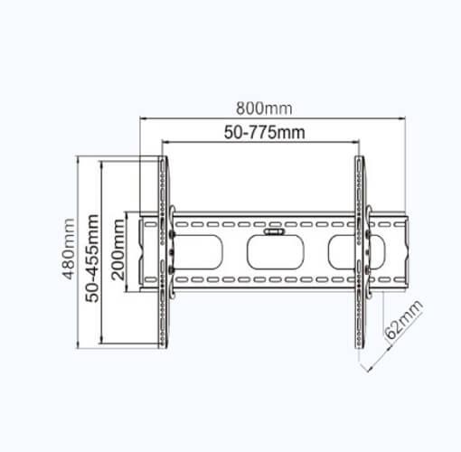 Tilting TV Mount dimensions 32 - 60 inch tvs